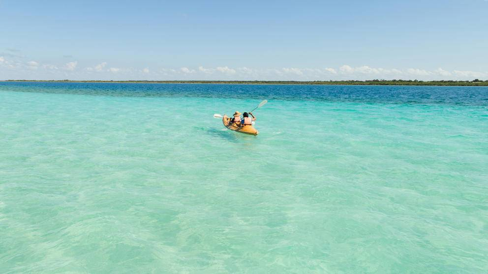 Kayakers in the Maldives