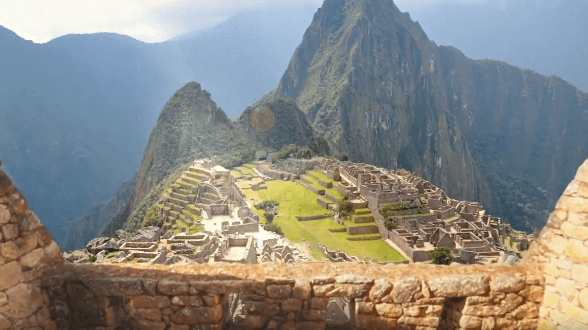 Machu Picchu viewed from stone hut